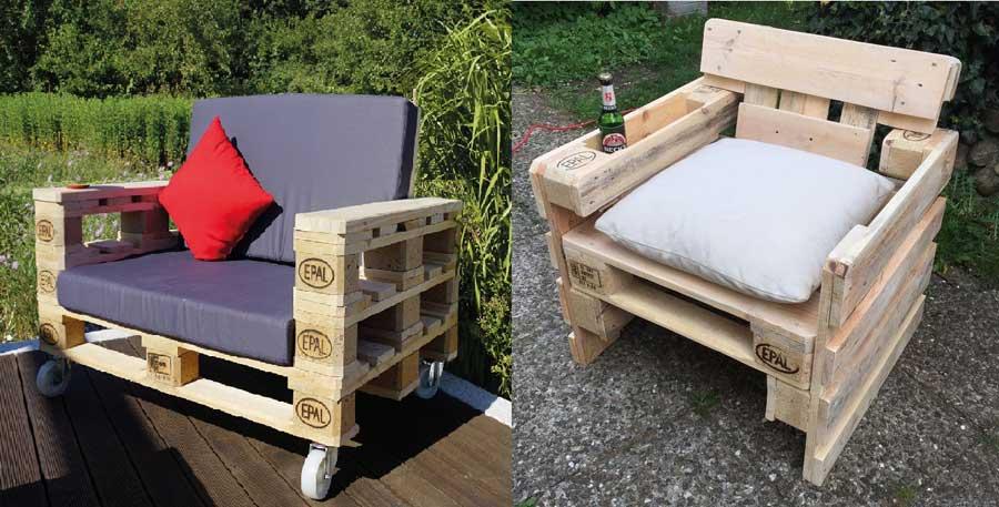 10 ideas para hacer sillones con palets embalajes nicol s for Sillones para terrazas y jardines
