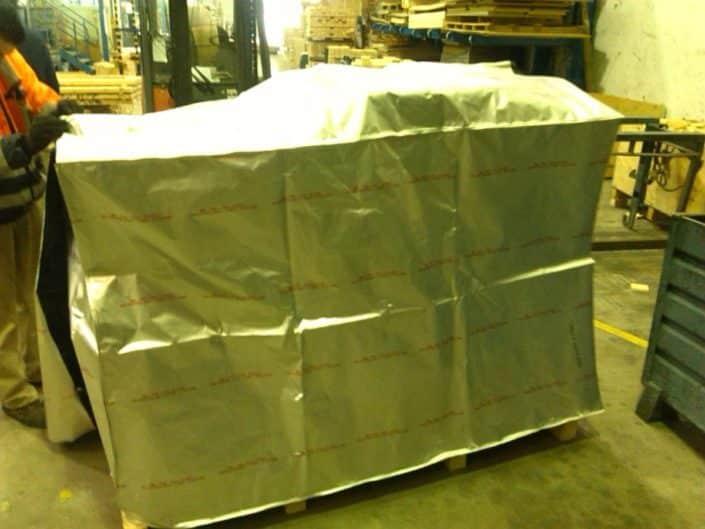 pre embalaje mercancía con bolsas de aluminio